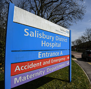 A sign of Salisbury District Hospital where former Russian agent Sergei Skripal and his daughter Yulia are treated