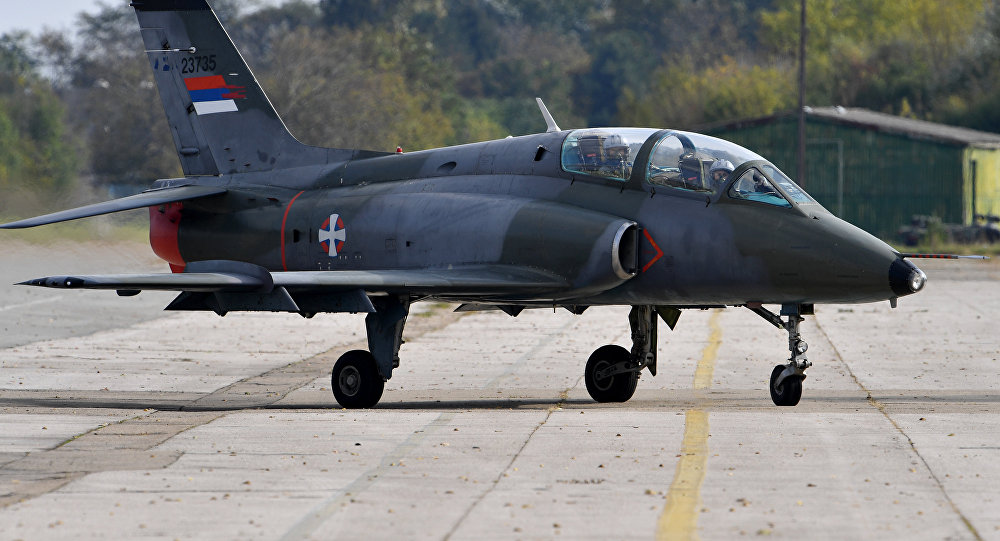 This file picture taken on October 13, 2016, shows a Serbian air force Super Galeb G-4 multi-purpose jet taxiing on the tarmac before a flight during the joint Russian-Serbian military exercises BARS (Brotherhood of Aviators of Russia and Serbia) 2016, at the military airport Batajnica, near Belgrade