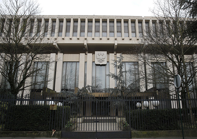 The Russian embassy is pictured in Paris, Monday, March 26, 2018