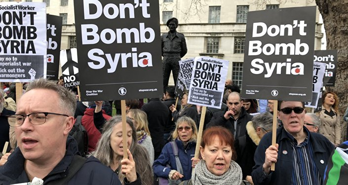 Protest against Britain and the US launching military strikes in Syria