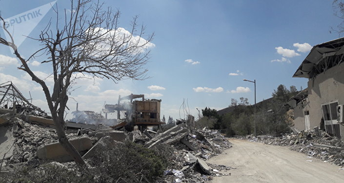Aftermath of attack on the Barzah scientific research center near Damascus, April 14, 2018