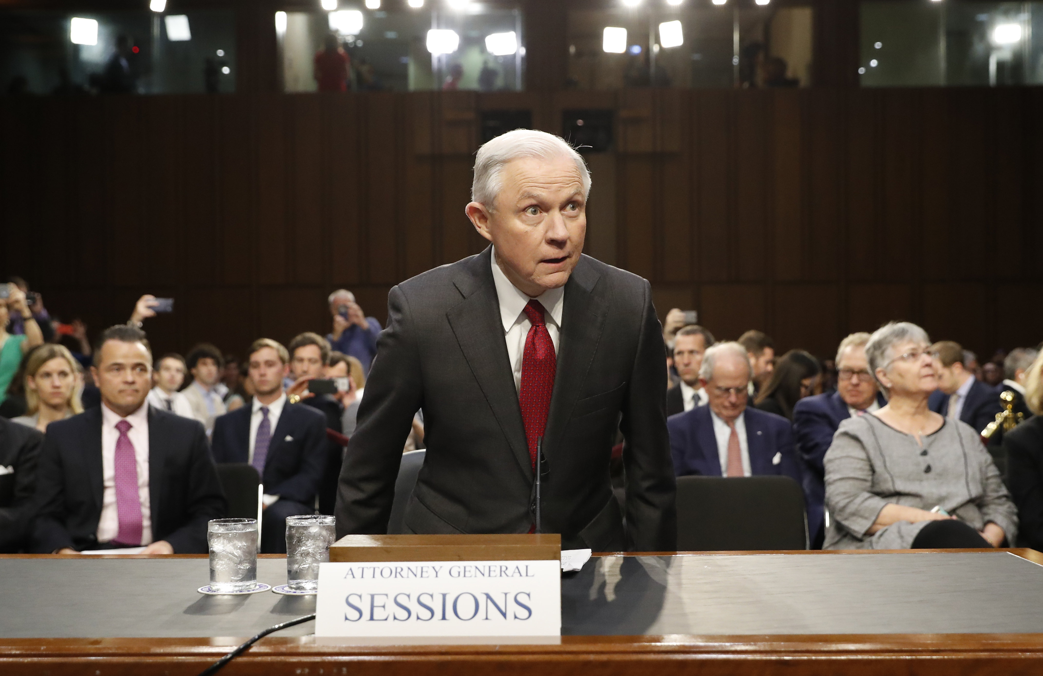 Attorney General Jeff Sessions arrives on Capitol Hill in Washington, Tuesday, June 13, 2017, to testify before the Senate Intelligence Committee hearing about his role in the firing of James Comey, his Russian contacts during the campaign and his decision to recuse from an investigation into possible ties between Moscow and associates of President Donald Trump.