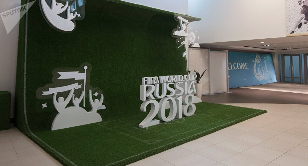 Lobby of Fisht Olympic Stadium in Sochi decorated for the upcoming 2018 FIFA World Cup
