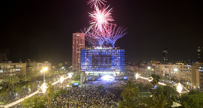 Fireworks are set off during celebrations for Israel's 70th Independence Day, at Rabin square in Tel Aviv, Israel