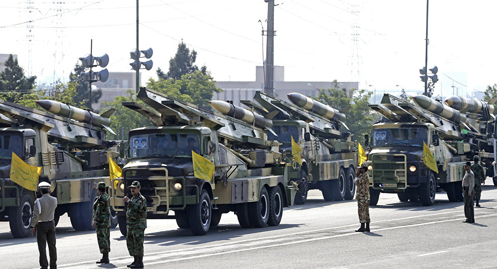 Missiles are on display during a parade marking National Army Day at the mausoleum of the late revolutionary founder Ayatollah Khomeini, just outside Tehran, Iran, Wednesday, April 18, 2018.