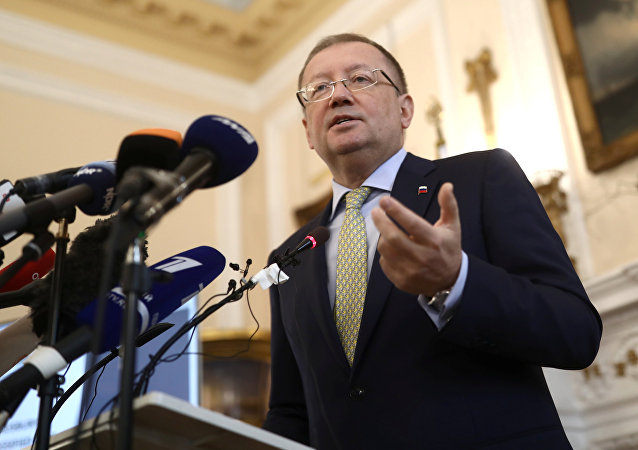 Russian Ambassador Alexander Yakovenko addresses the media at a news conference in the official Russian Ambassador's residence in central London, Britain, file photo.