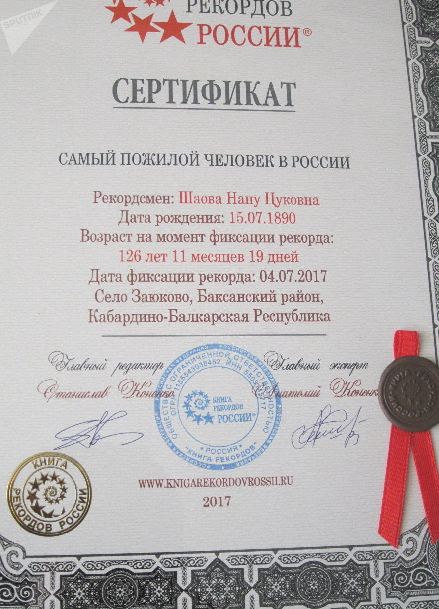 Russian Book of Records certificate recognizing Nanu Shaova as the oldest person in Russia.