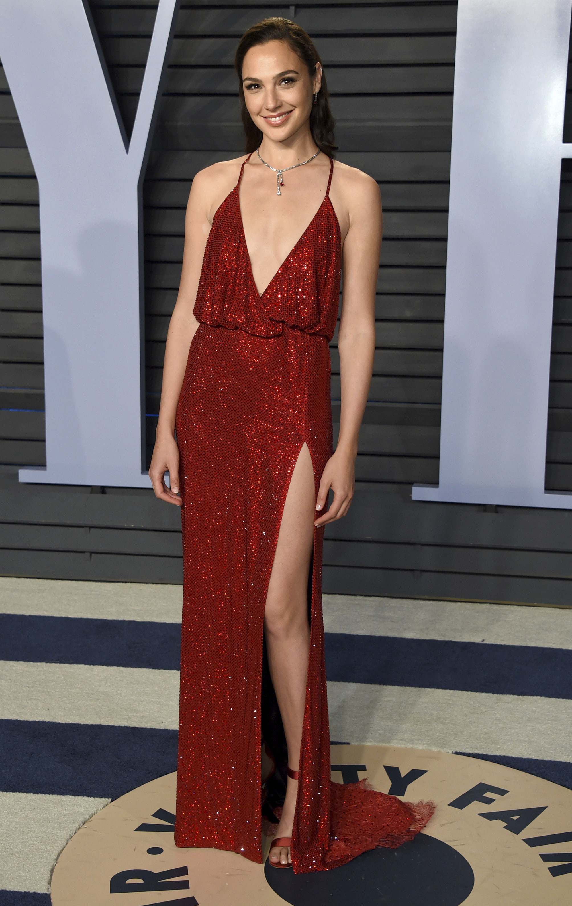 Gal Gadot arrives at the Vanity Fair Oscar Party on Sunday, March 4, 2018, in Beverly Hills, Calif.