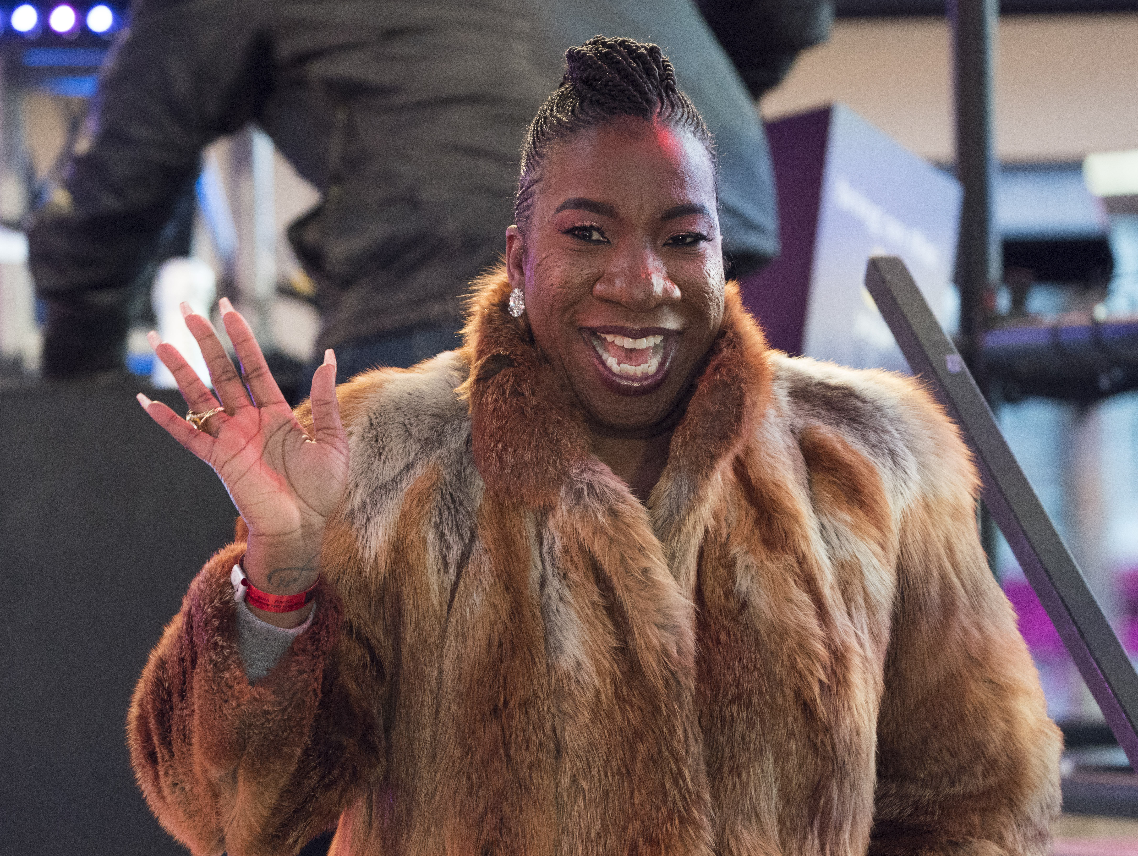 Social activist Tarana Burke, creator of Me Too, takes part in New Year's Eve celebrations in Times Square on December 31, 2017 in New York