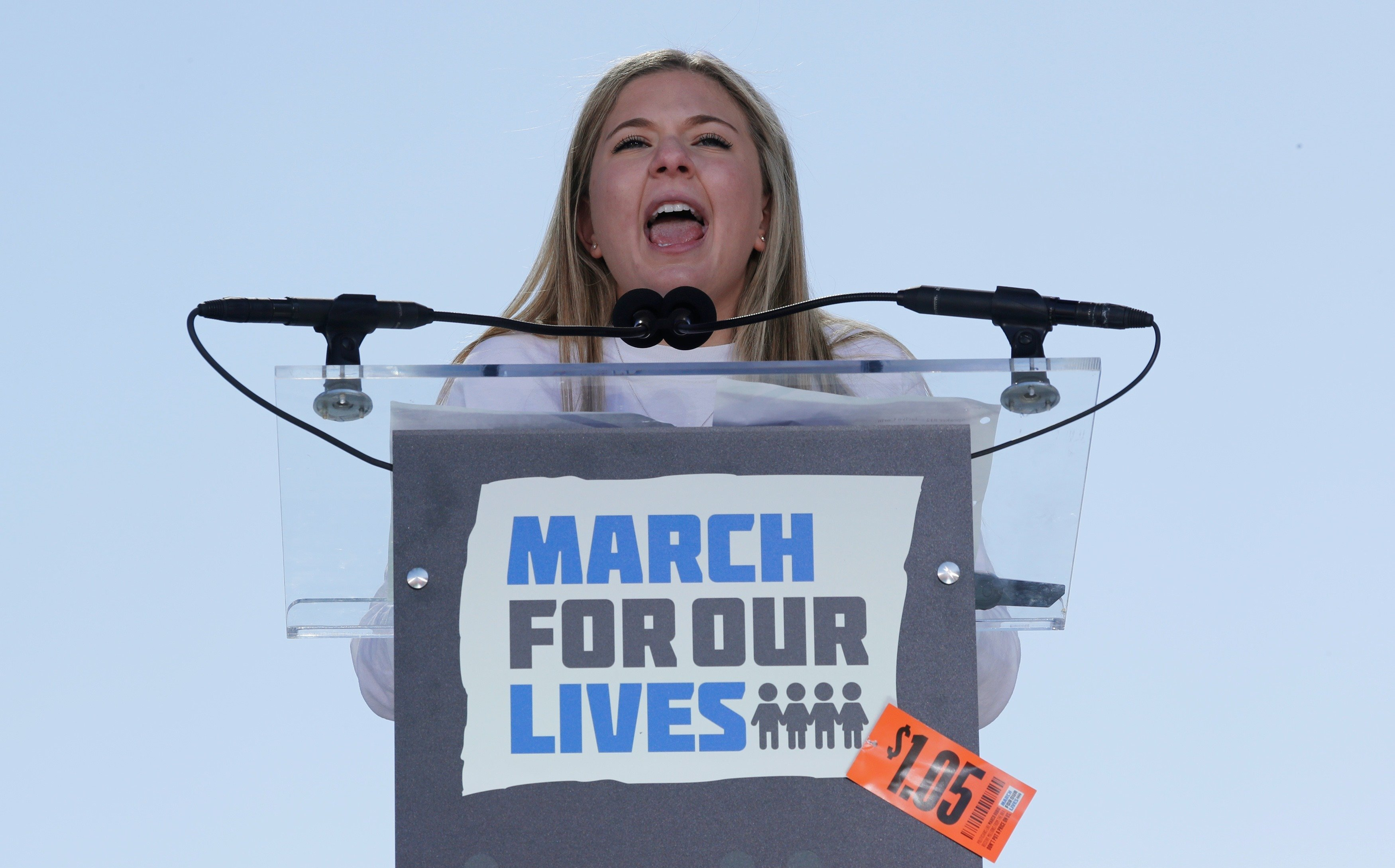 Marjory Stoneman Douglas High School student and shooting survivor Jaclyn Corin, from Parkland, Florida, speaks as students and gun control advocates hold the March for Our Lives event demanding gun control after recent school shootings at a rally in Washington, U.S., March 24, 2018