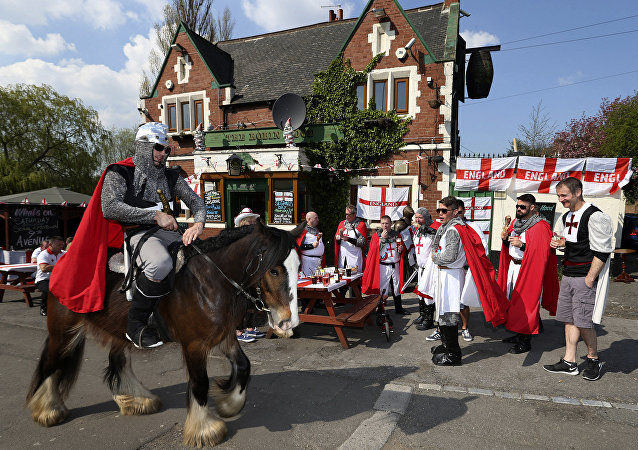 Patrons attend a St. George's Day event at a pub in Jarrow, England (File)
