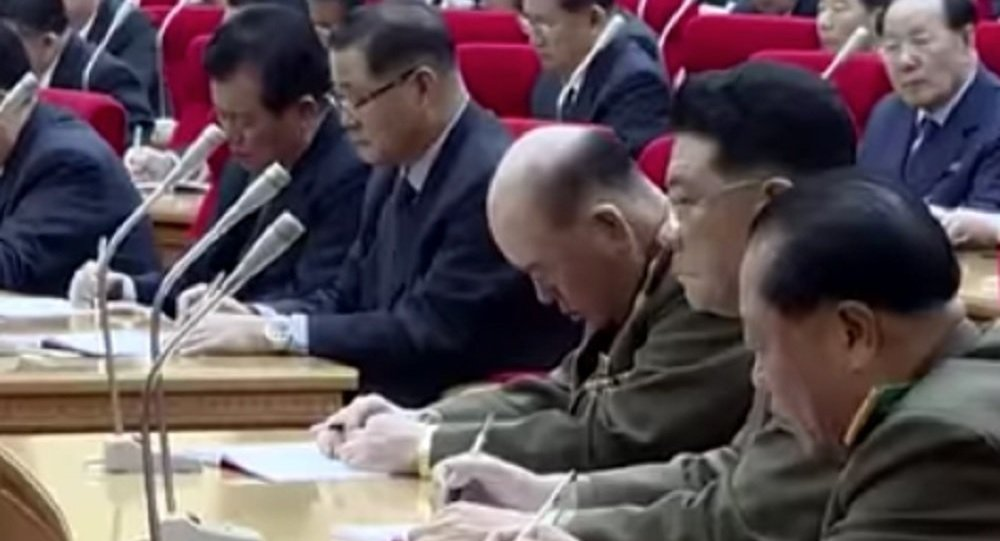 North Korean general Ri Myong-su appears to nap during a meeting