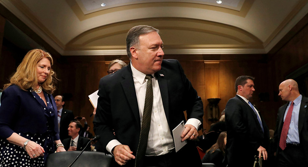 CIA Director Mike Pompeo leaves his seat for a break after testifying before a Senate Foreign Relations Committee confirmation hearing on Pompeo's nomination to be secretary of state on Capitol Hill in Washington, U.S.