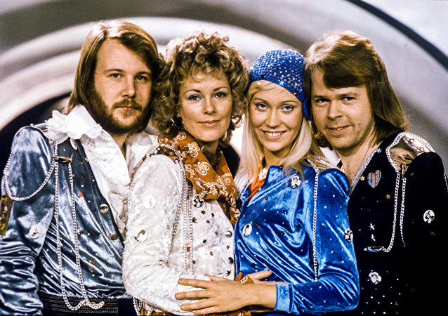 Swedish pop group Abba: Benny Andersson, Anni-Frid Lyngstad, Agnetha Faltskog and Bjorn Ulvaeus pose after winning the Swedish branch of the Eurovision Song Contest with their song Waterloo, February 9, 1974. Picture taken February 9, 1974