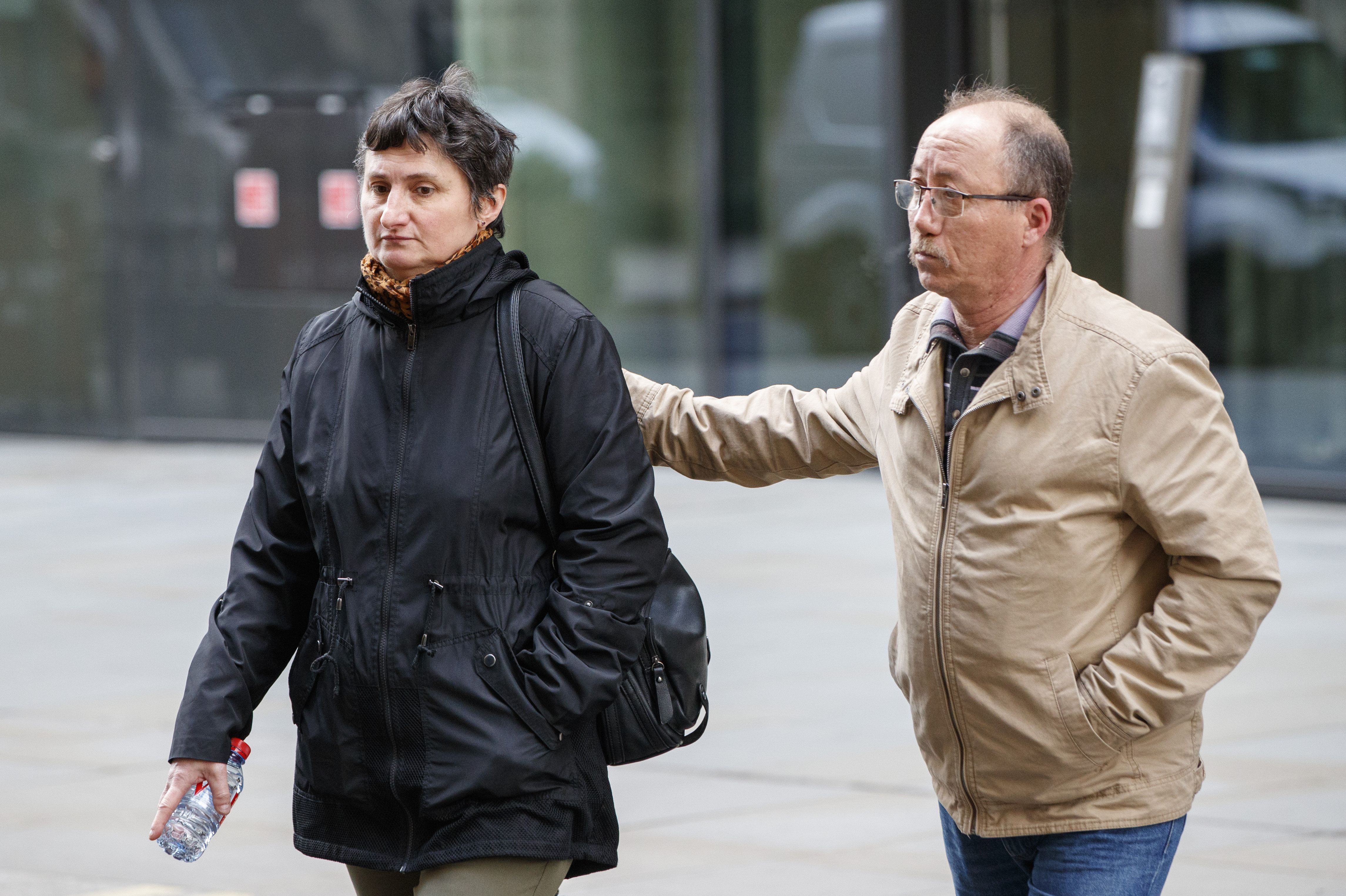 Sophie Lionnet's mother Catherine and her grandfather Stephane Devallone outside the court on Monday April 16