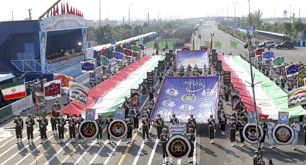 Iranian army troops march during a parade marking National Army Day in front of the mausoleum of the late revolutionary founder Ayatollah Khomeini, just outside Tehran, Iran, April 18, 2018