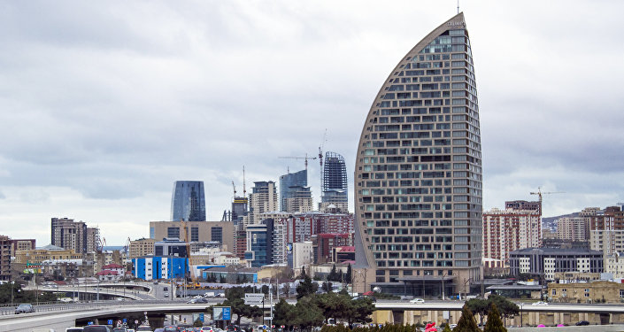 In this Feb. 19, 2016, file photo, The Trump International Hotel, the highest building, is seen in Baku, Azerbaijan