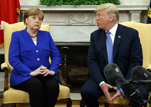 US President Donald Trump meets with German Chancellor Angela Merkel in the Oval Office of the White House, April 27, 2018, in Washington