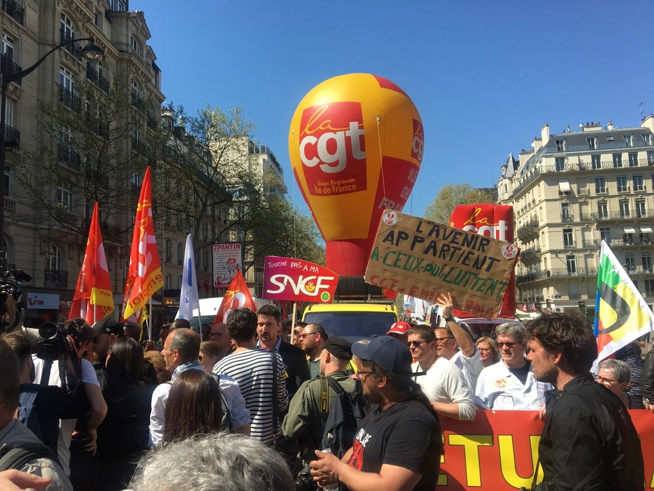 May Day labour union march in Paris, France, May 1, 2018