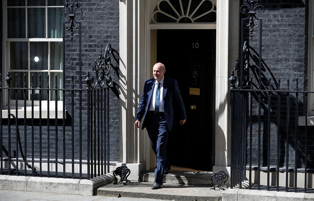 Damian Green who has been appointed First Secretary of State and Minister for the Cabinet Office leaves Downing Street in London, Britain