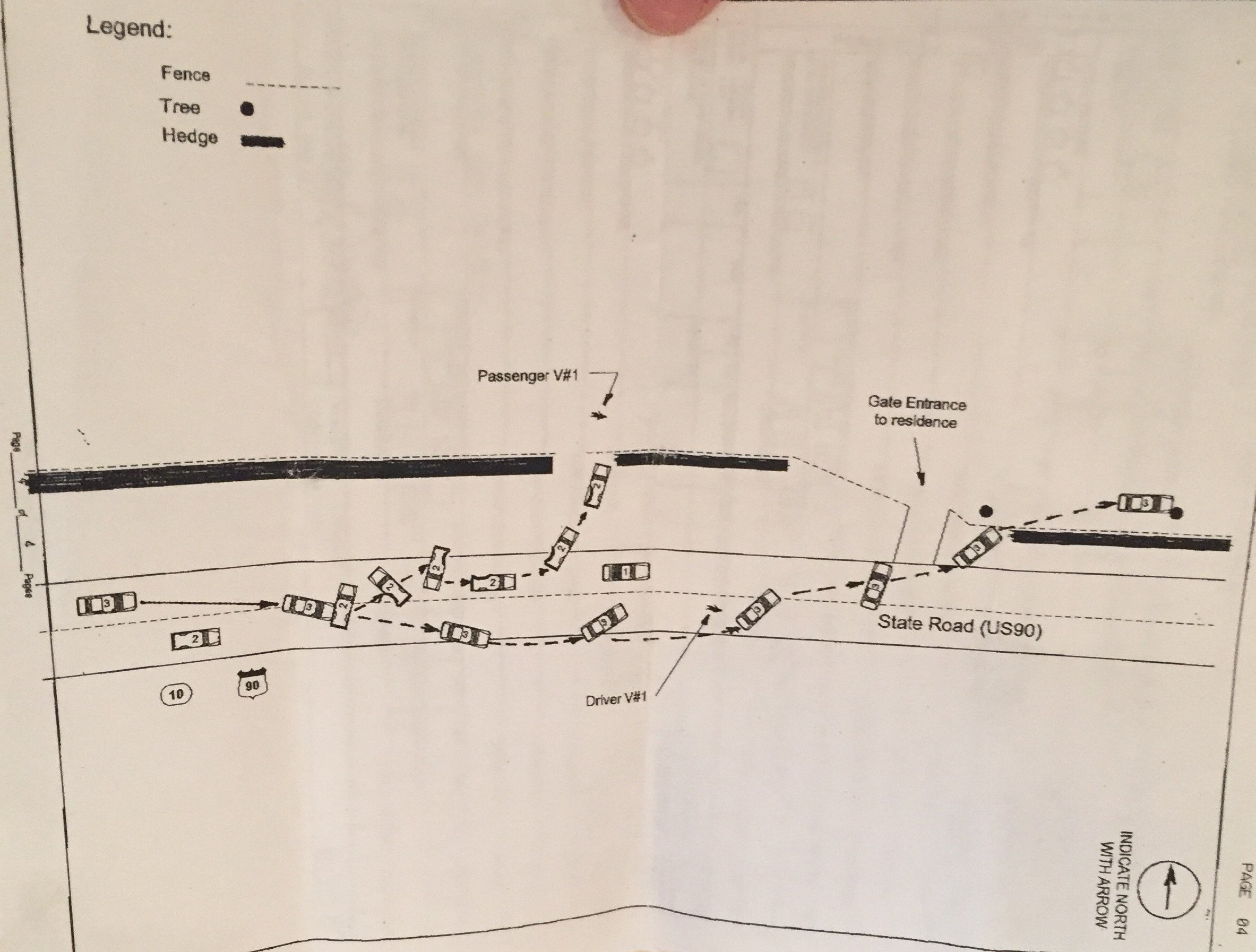 A diagram depicting the car accident caused by Baker County Deputy Sheriff Ryan T Fraser which killed Debbie Griffis and permanently injured Amy Thomas.