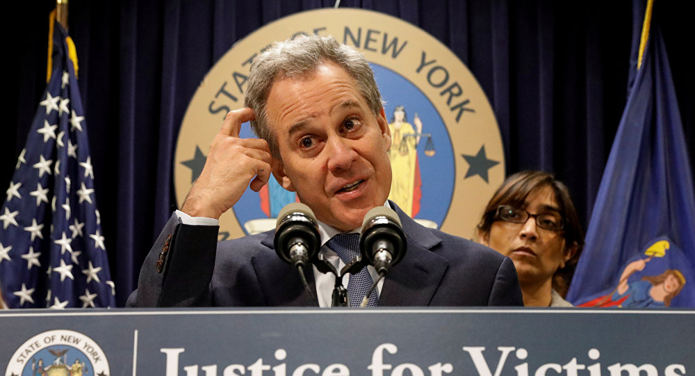 New York Attorney General Eric Schneiderman speaks during a news conference to discuss the civil rights lawsuit filed against The Weinstein Companies and Harvey Weinstein in New York, U.S., February 12, 2018