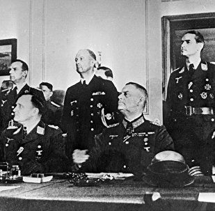 German delegation at the signing of the German instrument of surrender. May 8, 1945. Berlin