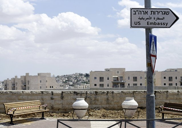 Road signs with an inscription U.S. Embassy in Jerusalem