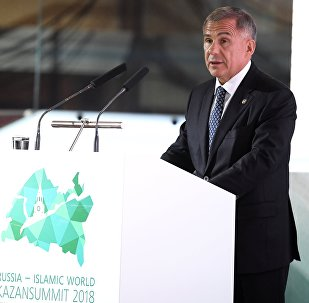 President of Tatarstan Rustam Minnikhanov speaks at the plenary session Russia — Islamic World: Driver of International Economy at the 10th international economic summit, Russia — Islamic World: KazanSummit 2018 in Kazan