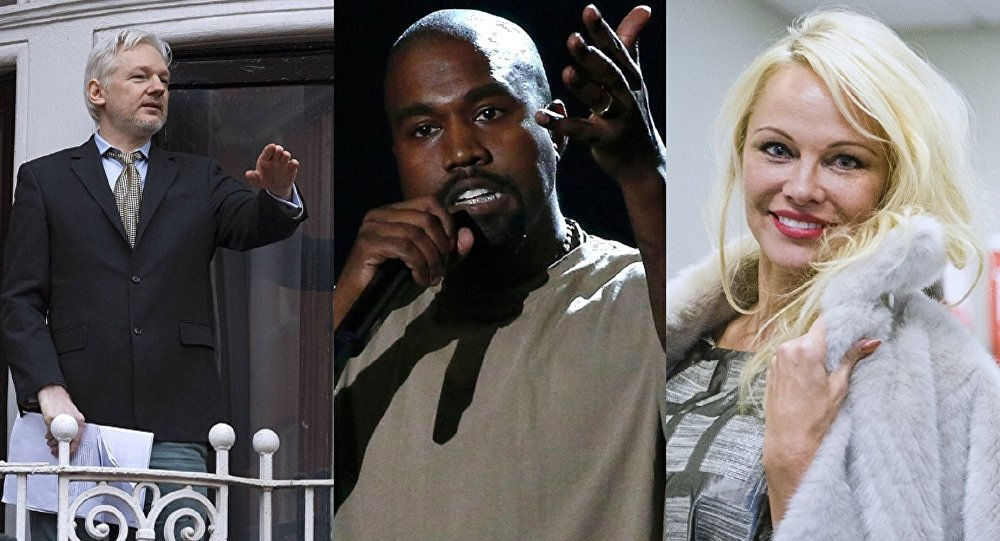 Mashup of photographs of Julian Assange, Kanye West and Pamela Anderson.