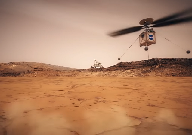 Still shot from a NASA animated video showing what their Mars Helicopter would look like in action.
