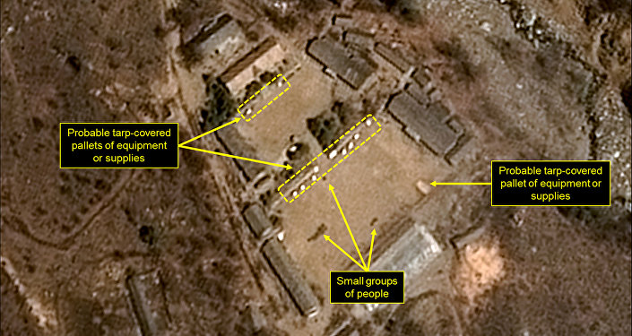 This satellite image released and notated by Airbus Defense & Space and 38 North on April 12, 2017, shows the Punggye-ri nuclear test site in North Korea
