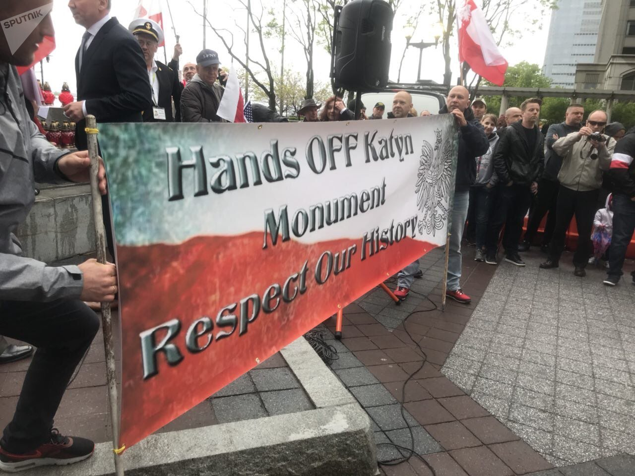 Rally in Jersey City Against Relocation of Katyn Memorial