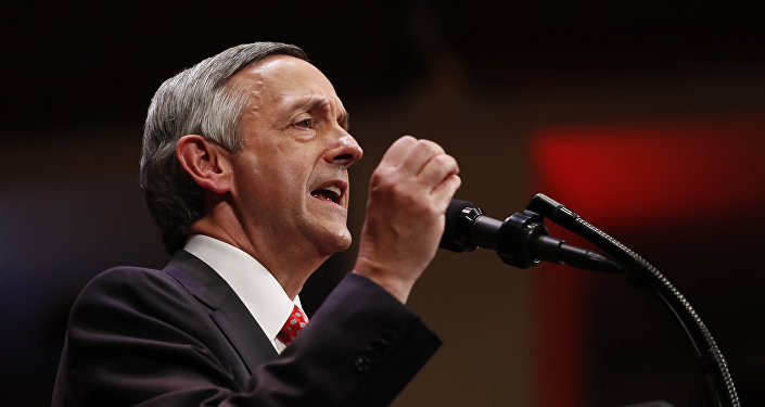 Pastor Robert Jeffress of the First Baptist Dallas Church Choir speaks as he introduces President Donald Trump sduring the Celebrate Freedom event at the Kennedy Center for the Performing Arts in Washington, Saturday, July 1, 2017