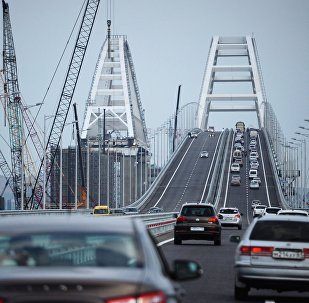 Car traffic on the Crimean Bridge's freeway section