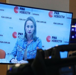 Irina Vyshinskaya, the wife of journalist Kirill Vyshinsky, during a press videoconference in Moscow and Kiev