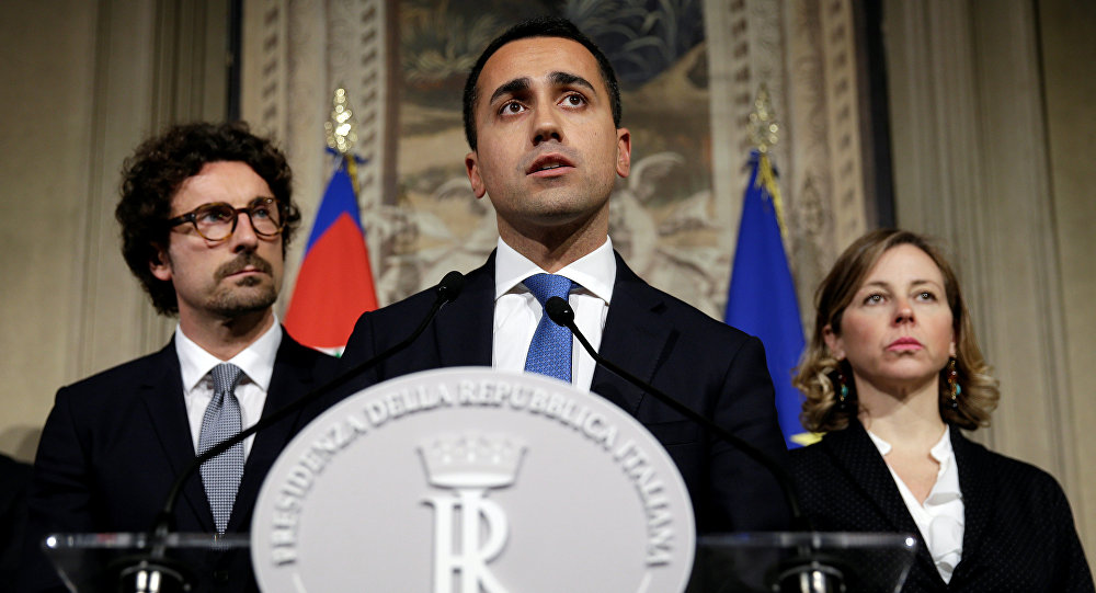Anti-establishment 5-Star Movement leader Luigi Di Maio speaks following a talk with Italian President Sergio Mattarella at the Quirinal Palace in Rome, Italy, April 12, 2018
