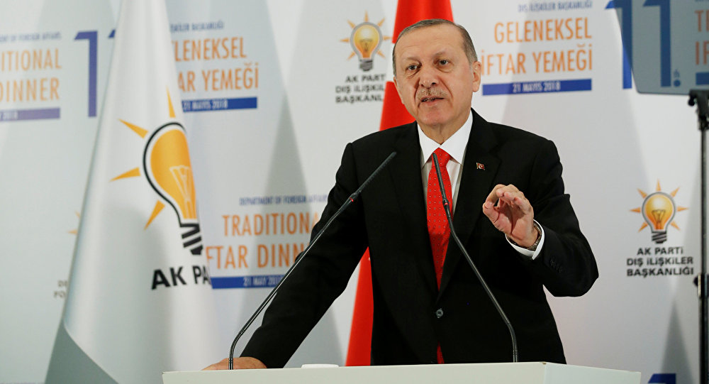 Turkish President Tayyip Erdogan speaks during an iftar dinner in Ankara, Turkey May 21, 2018