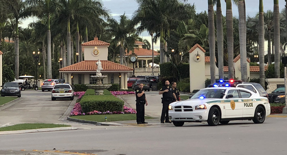 Police respond to The Trump National Doral resort after reports of a shooting inside the resort Friday, May 18, 2018 in Doral, Fla.