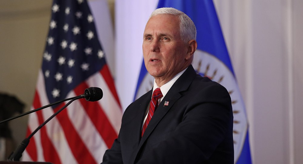 U.S. Vice President Mike Pence addresses the Organization of American States at the OAS headquarters in Washington, U.S. May 7, 2018