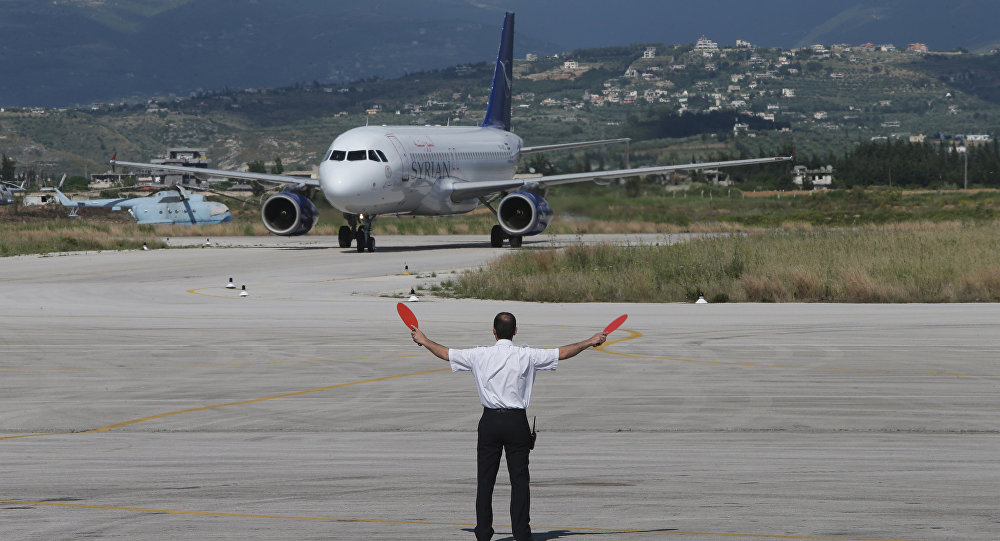 A SyrianAir passenger plane taxis at Latakia airport on Syria's northwestern Mediterranean coast (File)