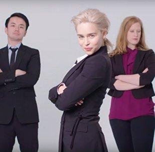 Emilia Clarke Re-Creates Stock Photos
