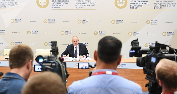 Advisor to the President of Russia, Deputy Chair of the Organizational Committee, Executive Secretary Anton Kobyakov during the final press conference of the St. Petersburg International Economic Forum