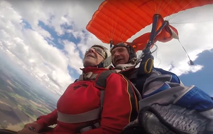 Paralysed 71 y.o. Granny Goes Skydiving in Ukraine