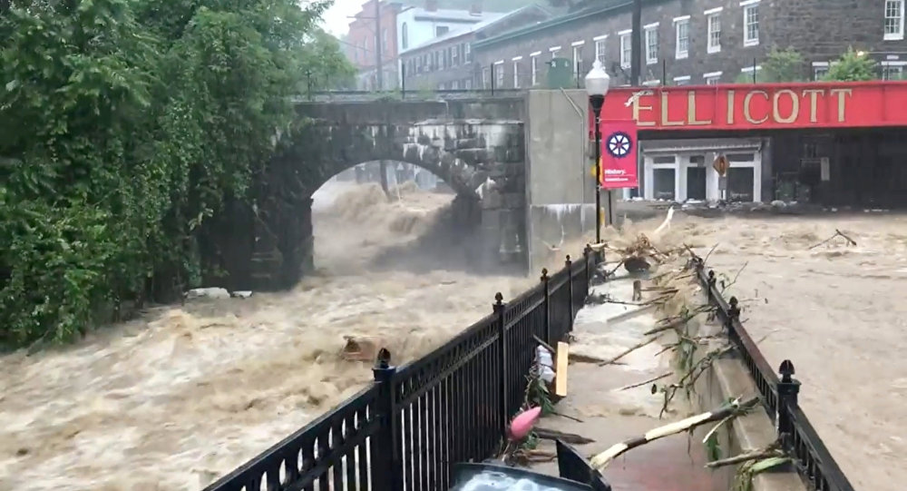 Flooding is seen in Ellicott City, Maryland, U.S. May 27, 2018, in this still image from video from social media