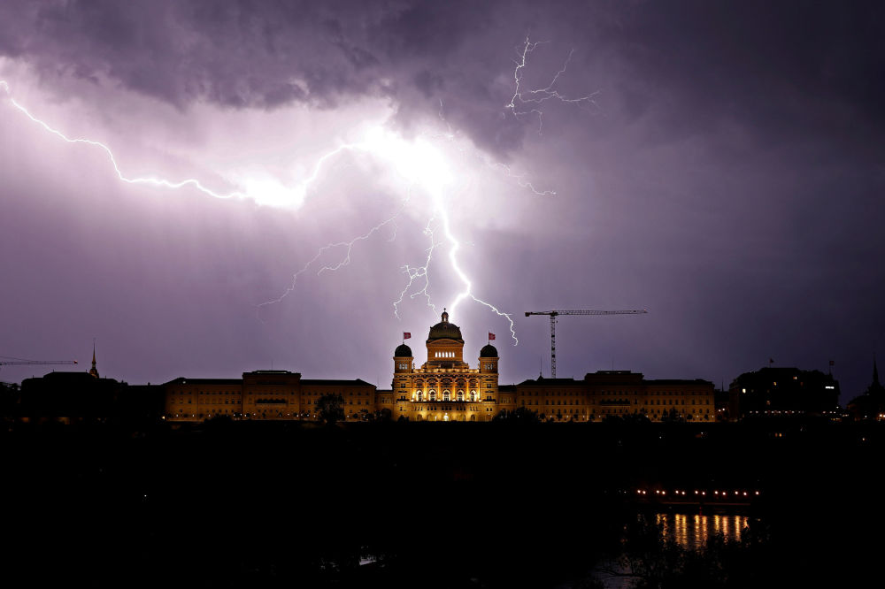 Lightning Over Swiss Federal Palace in Bern, Switzerland