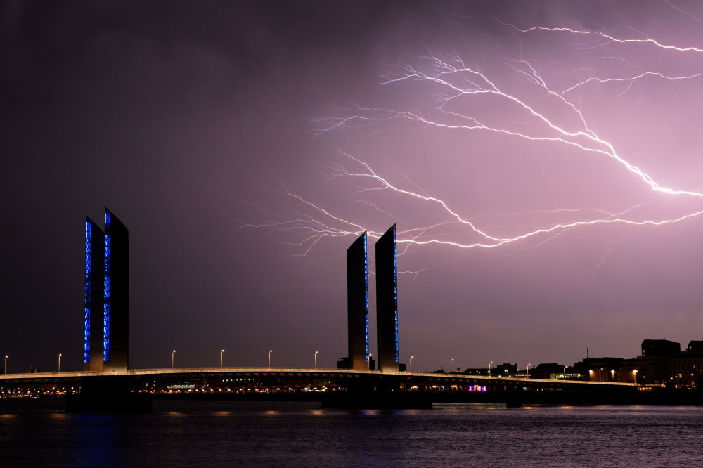 Flashes of Lightning in Bordeaux, France