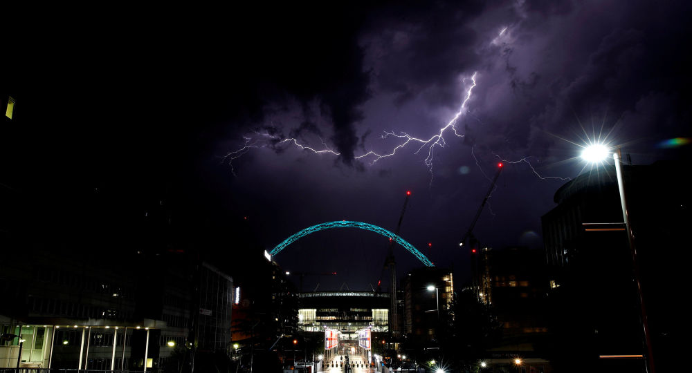 Lightning Above Wembley Stadium in London, UK