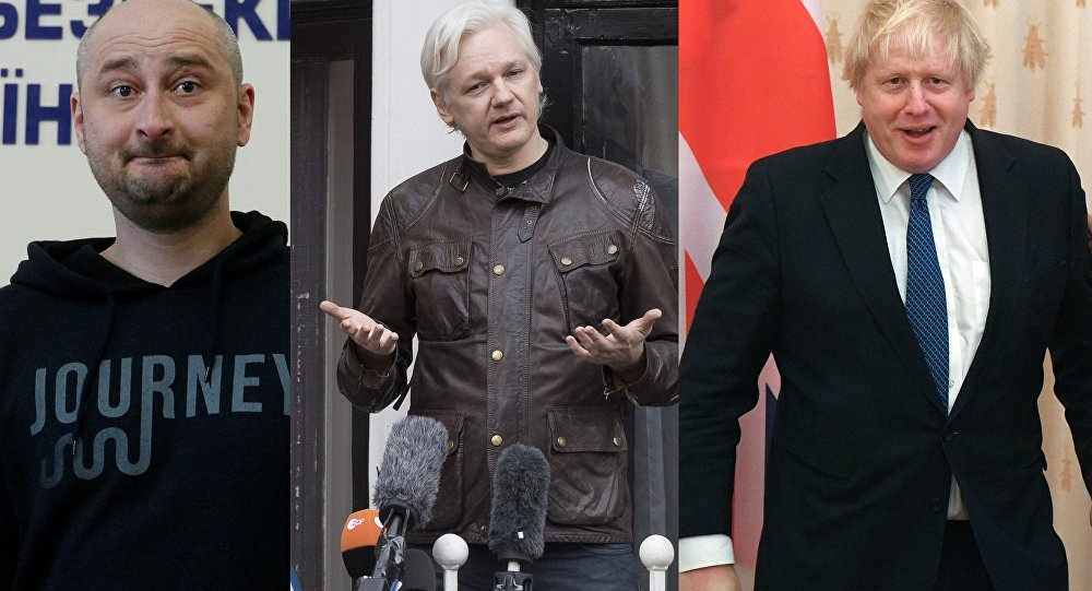 Arkady Babchenko, Julian Assange, Boris Johnson