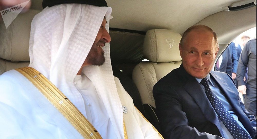 June 1, 2018. President Vladimir Putin and Crown Prince of Abu Dhabi Mohammed bin Zayed Al Nahyan second left, in the Kortezh vehicle of the presidential escort, during a meeting